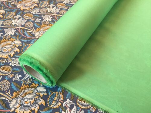 GREEN LIBERTY PLAIN TANA LAWN 100/% COTTON FABRIC 137cm WIDE