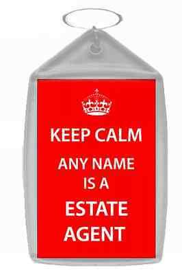 Agente Immobiliare Personalizzata Keep Calm Portachiavi-mostra Il Titolo Originale