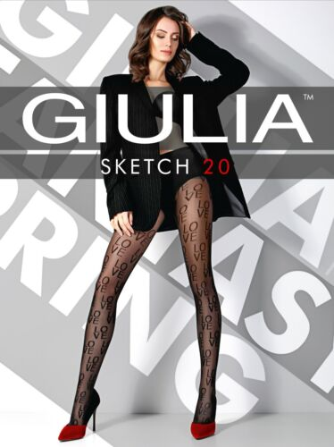 All over patterned Love Lettered Logo 20 Denier Tights Giulia Sketch Model 1
