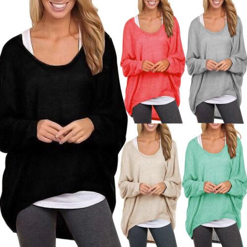 Damen Bluse Tunika T-Shirt Pullover Baggy Jumper Shirt Langarm Oberteil BC244