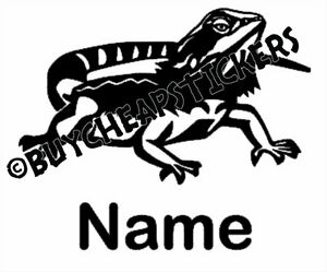 Any Color Bearded Dragon Silhouette with Name Vinyl Decal Sticker 4x4