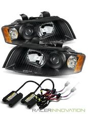 6000K Xenon HID/For 02-05 Audi A4/S4 Euro Black/Amber Projector Headlights Lamps