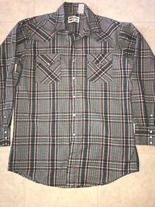 WESTERN-CRAFT-Vtg-Men-039-s-Green-Blue-Plaid-Pearl-Snap-Shirt-Cowboy-L