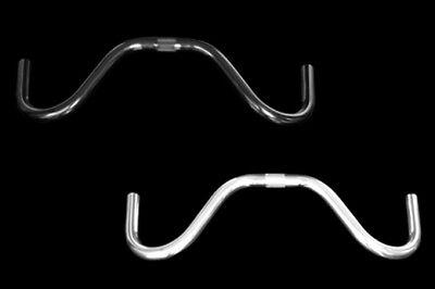 BDW Mustache alloy handlebar center Ø25.4mm , grip Ø23.8mm black or silver