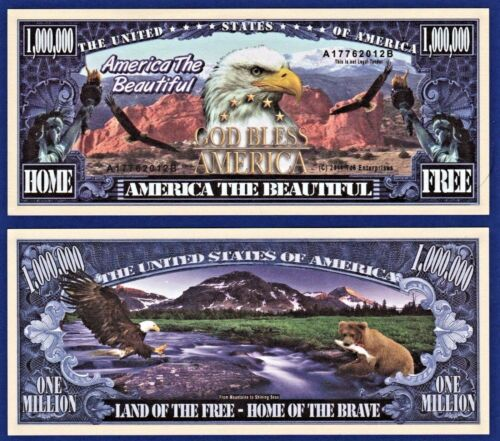 America the Beautiful Million Dollar Bills  Eagle  Liberty  Novelty Money A 2 5