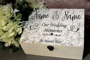 Details About Personalised Wedding Box Sticker Our Wedding Memories Make Your Own Keepsake
