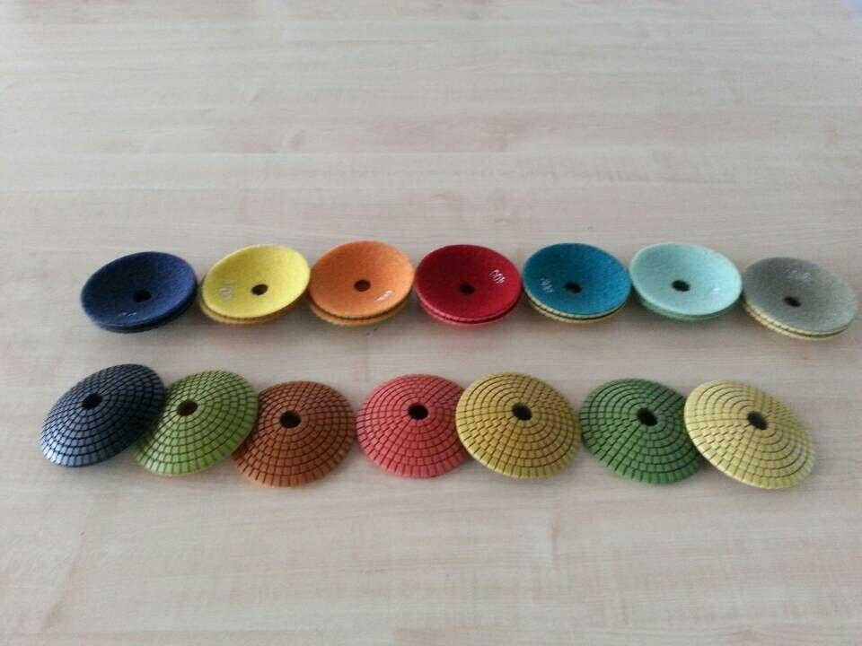 4  Diamond convex polishing pads for marble and granite 7 pieces USD 44.5