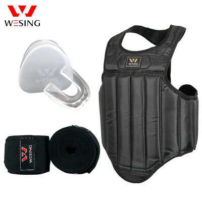 Wesing Sanda Martial arts chest guards hand wraps mouth guard equipment sets