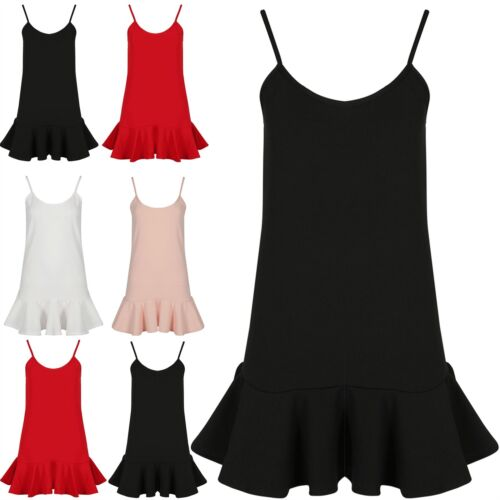 Womens Ladies Strappy Peplum Frill Hem Vest Plain Flared Franki Swing Mini Dress