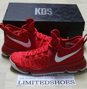 quality design 4e943 ecbf8 Image is loading NIKE-ZOOM-KD-9-IX-UNIVERSITY-RED-WHITE-