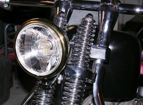 "4-1//2"" Black Hi//Lo Beam Headlight with Brass /& Copper Trim Rings Bobber Retro"