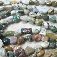 "Ocean Jasper 12-18mm Tumbled Nugget Beads 16"" Colorful Beautiful Markings"