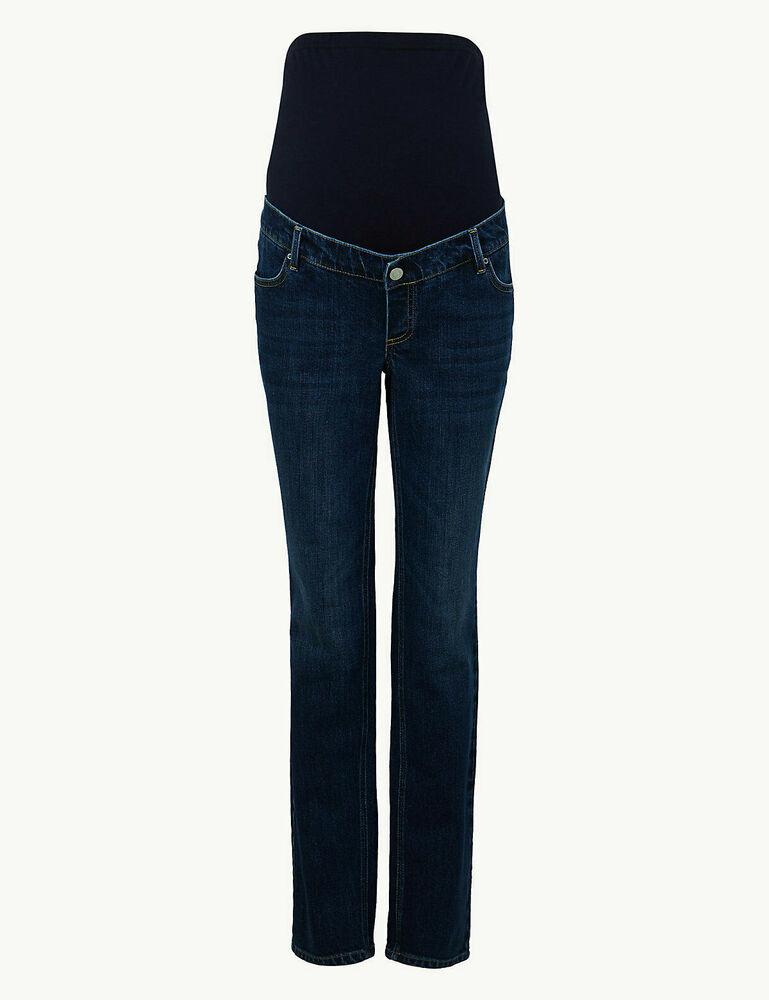 """Bnwt M&s Bleu Foncé Sur Bump Maternity Coupe Droite Jeans 10 Longue Jambe 32"""""""