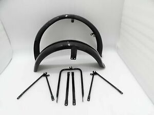 MATCHLESS G3L AJS 16M MILITARY MODEL BLACK PAINTED MUDGUARD SET & STAYS
