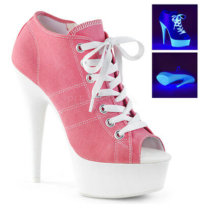 """6/"""" Baby Pink Canvas Platform Stripper Referee Sneaker Boots High Heels Shoes"""