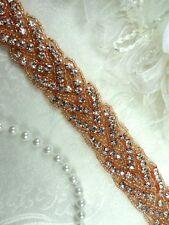 "DH32 Rhinestone Trim Rose Gold Beaded Bridal Sash Braided Iron On (34"" long)"
