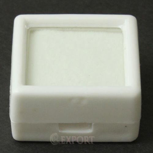 72 Gemstone Storage Case Glass Top Diamond Gemstone White Box 3x3x1.5cm.