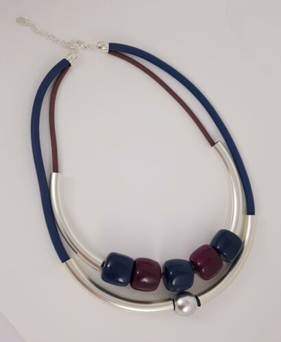 Purple Two Rows Rubber Silver Tubes /& Beads Lagenlook Necklace Teal Mauve