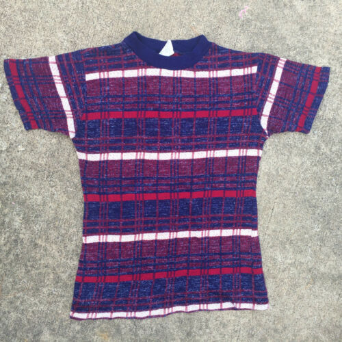 Rare Knit Vintage 1950's 60s Surf Stripe Blank T … - image 1