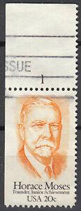 Estados unidos sello con sello 20c Horace moisés primero etiquetas sello borde arco número/4884