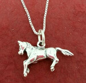 Sterling-Silver-Horse-Necklace-Solid-925-Charm-Pendant-and-Chain-pony