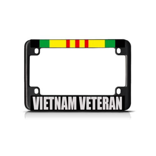 VIETNAM VETERAN RED GREEN Black Metal Bike Motorcycle License Plate Frame Tag