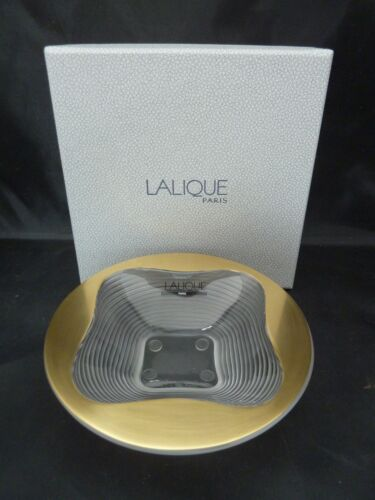 LALIQUE COUPELLE TREFLE OR GOLD ACCENTED BOWL 4.75 x 1.25 NIB