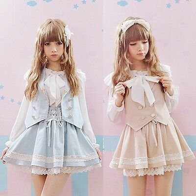 Cute Girls Lolita Suspender Skirt Lace Trim Cross Tie Ribbon+vest Suit Fairy Kei