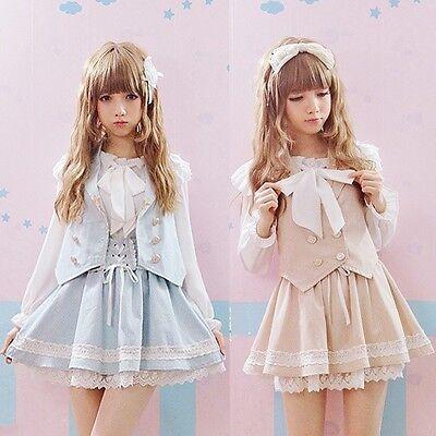 Cute Girls Lolita Suspender Skirt Lace Trim Cross Tie Ribbon+vest Suit Fairy Kei