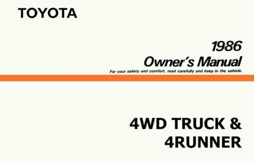 OEM Repair Maintenance Owner/'s Manual Bound for Toyota 4Wd Truck /& 4Runner 1986