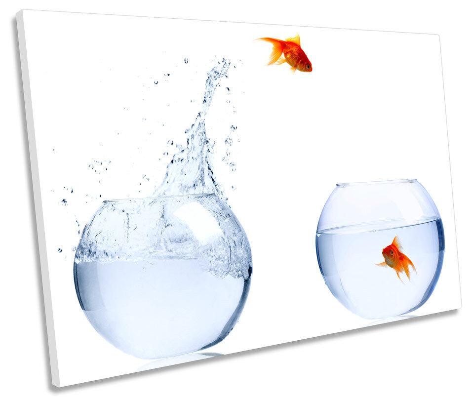 Jumping Goldfish Bowls SINGLE CANVAS WALL ART Framed Print