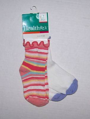 4 Pair Healthtex Girls Socks 5-6 1/2 Age 12 18 24 Mo Soft And Light