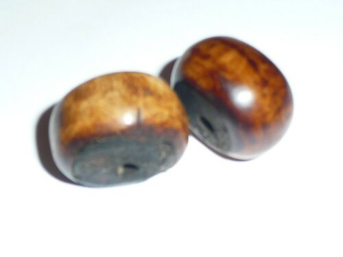 Rondelle Shaped 23mmx17mm Two African Brown Bovine Bone Trade Beads Approx