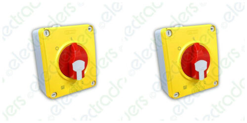 2 x Gewiss GW70433P Rotary Isolator Switches 16amp 4 Pole IP65 3 Phase /& Neutral