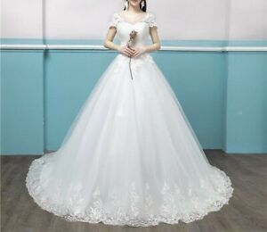 Womens-Applique-Wedding-Dress-off-shoulder-Gown-UK-SELLER-fits-sizes-UK-10-12
