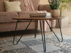 Happer Round Wooden Coffee Table With Hairpin Legs Vintage Black