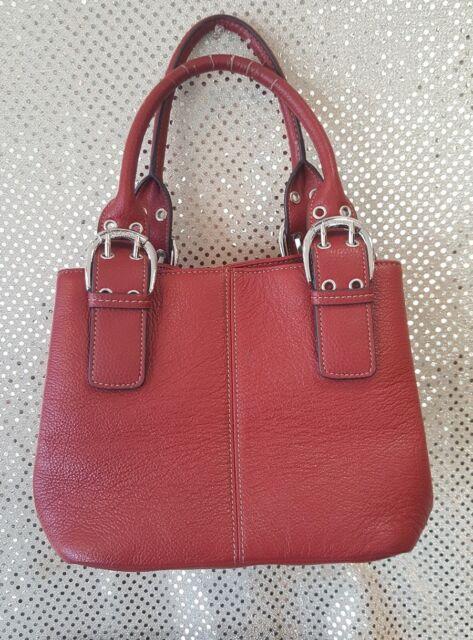 Tignanello Satchel Style Red Leather Handbag Magnetic Snap