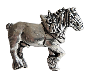 Shire Heavy Horse With Collar Pewter Pin Badge Hand Made in Cornwall