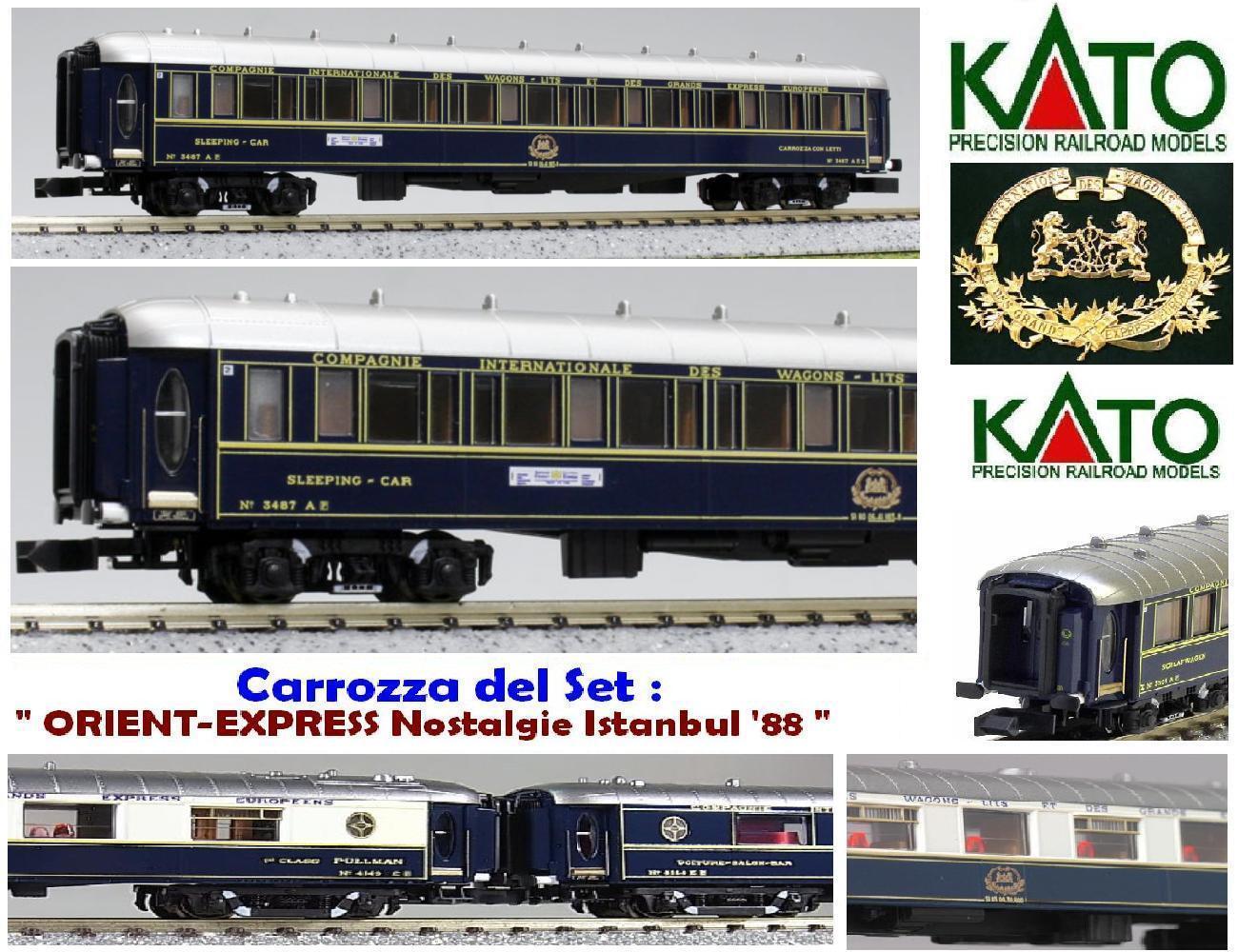 KATO-08 CIWL ORIENT EXPRESS Nostalgie-Istanbul Auto-LITS + TARGHE 3487A SCALA-N