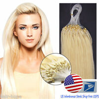 Us18inch Micro Loop Ring Beads Tipped Remy Human Hair Extensions Platinum Blonde