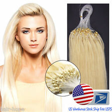 USA 18''Micro Loop Ring Beads Tipoed Remy Human Hair Extensions Platinum Blonde