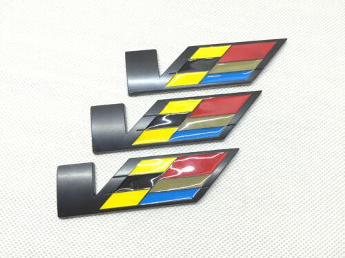 3Pcs Chrome Metal Large V Luxury Car Body Sides Trunk Lid Sticker Badge Emblems