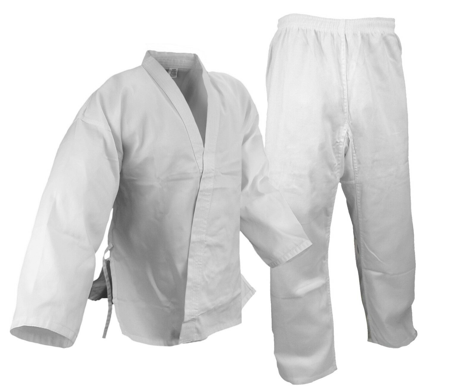 Size 9 New  Karate 7.5oz White Gi Uniform w White Belt, Cotton Poly blend  select from the newest brands like