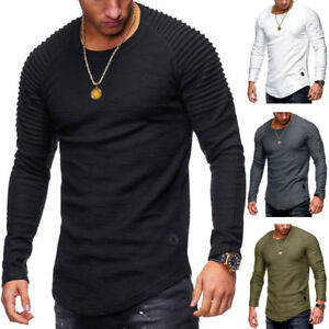Fashion-Men-039-s-Slim-Fit-O-Neck-Long-Sleeve-Muscle-Tee-T-shirt-Casual-Tops-Blouse