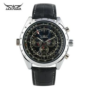 Men-039-s-Automatic-Mechanical-Watch-Genuine-Leather-Strap-Luminous-Function-Watch