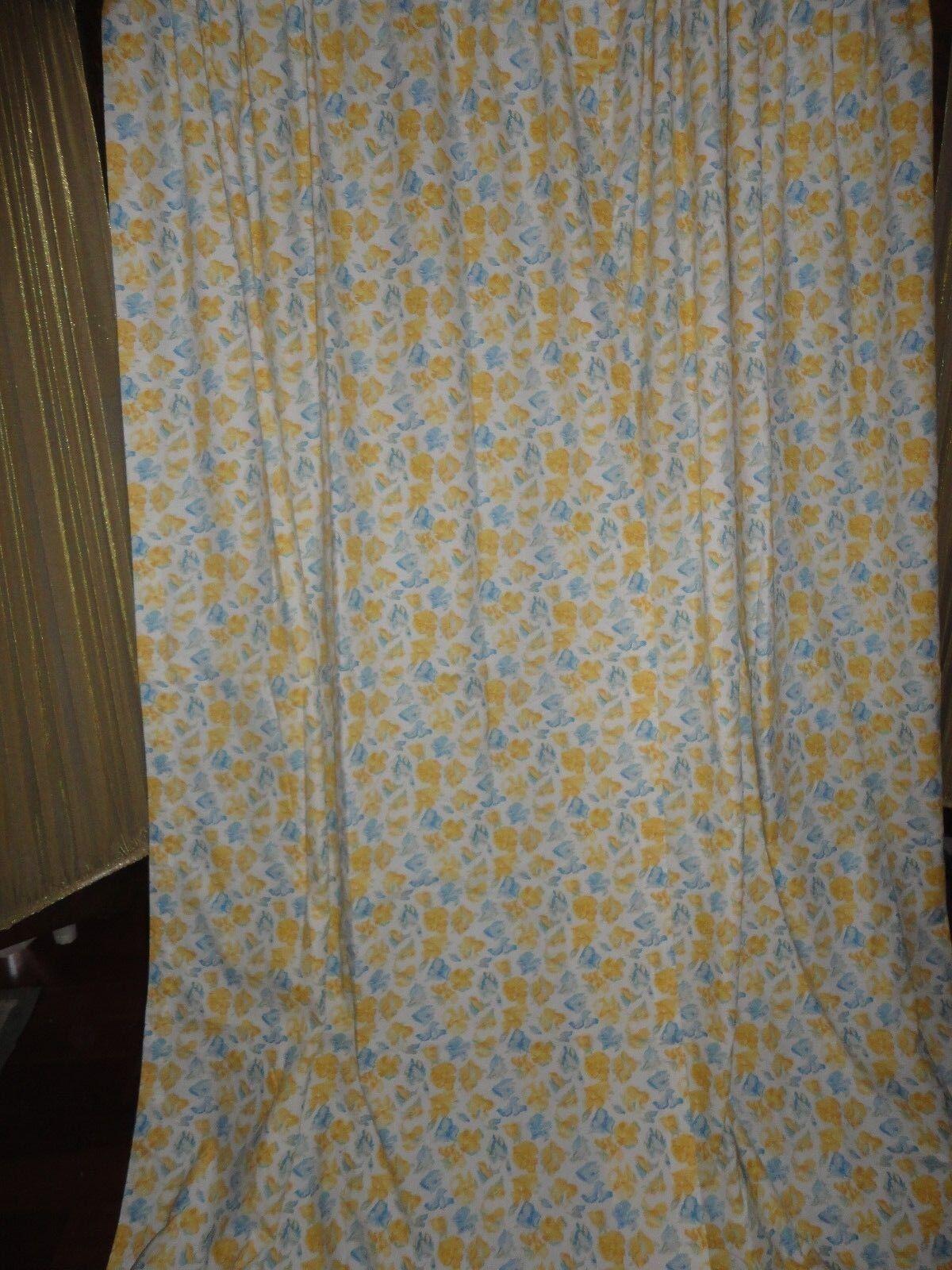 LAURA ASHLEY CHARLOTTE CONFETTI Blau Gelb FLORAL (3) LINED CURTAIN 41 X 84