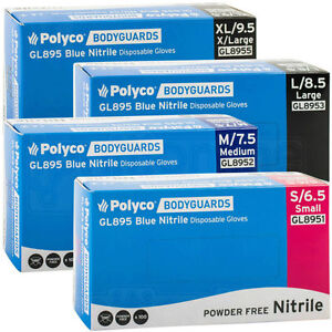 Polyco-Bodyguard-Blue-Nitrile-Disposable-Medical-Garage-Tattoo-Gloves-GL895