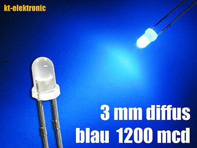 50 Stück LED 3mm blau diffus superhell