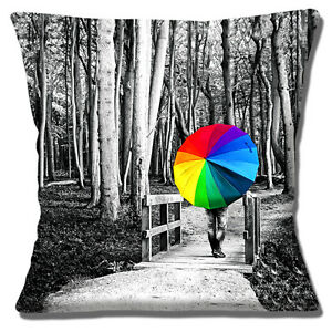 Black-amp-White-Woodland-Walk-Multi-Colour-Umbrella-16-034-x-16-034-40cm-Cushion-Cover
