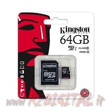 KINGSTON MICRO SD 64 GB CLASSE 10 TRANSFLASH SCHEDA MEMORY CARD CELLULARE FLASH